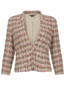 Multicolour Tweed Jacket - style: single breasted blazer; collar: standard lapel/rever collar; pattern: herringbone/tweed; secondary colour: stone; occasions: casual, evening, work, occasion; length: standard; fit: tailored/fitted; fibres: polyester/polyamide - mix; sleeve length: 3/4 length; sleeve style: standard; collar break: medium; pattern type: fabric; pattern size: small &amp; busy; texture group: tweed - light/midweight; predominant colour: dusky pink