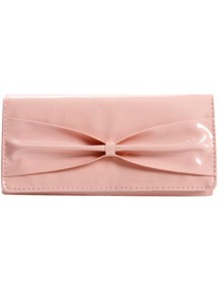 Billie Bow Front Purse - predominant colour: blush; occasions: evening, occasion; style: clutch; length: hand carry; size: small; material: faux leather; pattern: plain; finish: patent; embellishment: bow