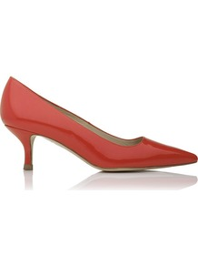 Bury Patent Leather Kitten Heel Orange Coral - predominant colour: terracotta; occasions: occasion; heel height: mid; heel: kitten; toe: pointed toe; style: courts; finish: patent; pattern: plain
