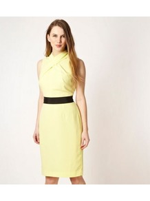 Designer Bright Yellow Cross Neck Dress - style: shift; fit: tailored/fitted; pattern: plain; sleeve style: sleeveless; neckline: high neck; waist detail: fitted waist; predominant colour: primrose yellow; occasions: casual, work, occasion; length: on the knee; fibres: polyester/polyamide - stretch; sleeve length: sleeveless; texture group: crepes; pattern type: fabric