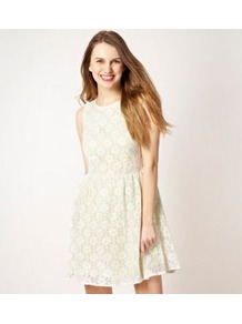 Designer White Neon Lace Dress - length: mid thigh; neckline: round neck; sleeve style: sleeveless; waist detail: fitted waist; predominant colour: white; occasions: casual, evening, occasion; fit: fitted at waist &amp; bust; style: fit &amp; flare; fibres: cotton - mix; hip detail: structured pleats at hip; sleeve length: sleeveless; texture group: lace; pattern type: fabric; pattern size: standard; pattern: patterned/print