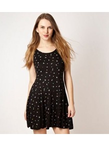 Designer Black Ditsy Spot Dress - length: mid thigh; fit: fitted at waist; sleeve style: sleeveless; waist detail: fitted waist; pattern: polka dot; predominant colour: black; occasions: casual, holiday; style: fit &amp; flare; neckline: scoop; fibres: cotton - 100%; hip detail: soft pleats at hip/draping at hip/flared at hip; sleeve length: sleeveless; pattern type: fabric; pattern size: small &amp; busy; texture group: jersey - stretchy/drapey