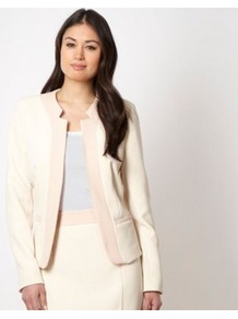 Designer Cream Colour Block Jacket - style: single breasted blazer; collar: standard lapel/rever collar; predominant colour: ivory; occasions: evening, work, occasion; length: standard; fit: tailored/fitted; fibres: polyester/polyamide - mix; sleeve length: extra long; sleeve style: standard; collar break: low/open; pattern type: fabric; pattern size: standard; pattern: colourblock; texture group: woven light midweight