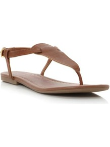 Tan Synthetic Jester Simple Toe Post Sandal - predominant colour: tan; occasions: casual, holiday; material: faux leather; heel height: flat; ankle detail: ankle strap; heel: standard; toe: toe thongs; style: flip flops / toe post; finish: plain; pattern: plain