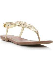 Gold Synthetic Jester Simple Toe Post Sandal - predominant colour: gold; occasions: casual, evening, holiday; material: faux leather; heel height: flat; embellishment: glitter; ankle detail: ankle strap; heel: standard; toe: toe thongs; style: flip flops / toe post; trends: metallics; finish: metallic; pattern: plain