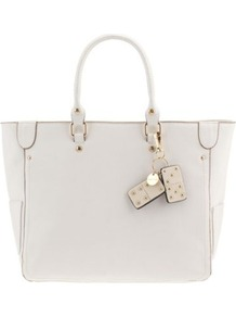 White Super Basic Shopper - predominant colour: white; occasions: casual, work; style: tote; length: handle; size: standard; material: faux leather; embellishment: studs; pattern: plain; finish: plain