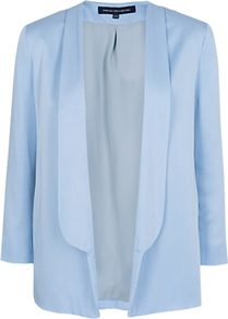 Drape Jacket - pattern: plain; style: single breasted blazer; collar: standard lapel/rever collar; predominant colour: pale blue; occasions: casual, evening, work; length: standard; fit: tailored/fitted; fibres: viscose/rayon - 100%; sleeve length: long sleeve; sleeve style: standard; collar break: low/open; pattern type: fabric; pattern size: standard; texture group: woven light midweight