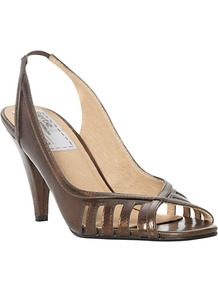 Darcilla Patent Peep Toe Slingback Sandals - predominant colour: bronze; occasions: evening, work; material: leather; heel height: mid; embellishment: elasticated; ankle detail: ankle strap; heel: stiletto; toe: open toe/peeptoe; style: slingbacks; finish: patent; pattern: plain