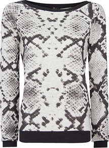 Snake Print Jersey Top, Black - neckline: slash/boat neckline; predominant colour: charcoal; occasions: casual; length: standard; style: top; fibres: cotton - mix; fit: straight cut; sleeve length: long sleeve; sleeve style: standard; trends: statement prints; pattern type: fabric; pattern size: big &amp; busy; pattern: animal print; texture group: jersey - stretchy/drapey