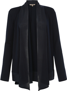 Silk Trim Cardigan, Dark Navy - pattern: plain; neckline: waterfall neck; style: open front; predominant colour: navy; occasions: casual, work; length: standard; fibres: viscose/rayon - stretch; fit: loose; sleeve length: long sleeve; sleeve style: standard; texture group: knits/crochet; pattern type: knitted - fine stitch