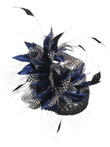 Bibi Feather And Satin Node - predominant colour: navy; occasions: evening, occasion; type of pattern: large; style: fascinator; size: standard; material: macrame/raffia/straw; embellishment: feather; pattern: patterned/print