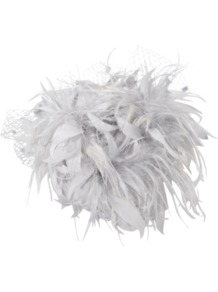 Bibi With Feathers - predominant colour: light grey; occasions: occasion; style: fascinator; size: standard; material: macrame/raffia/straw; embellishment: feather; pattern: plain