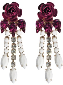 Tortesoishell And Rhinestone Earrings - predominant colour: burgundy; occasions: evening, occasion; style: drop; length: mid; size: standard; material: chain/metal; fastening: pierced; trends: high impact florals; finish: plain; embellishment: crystals