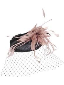 Bibi Node Feather - occasions: evening, occasion; type of pattern: light; style: fascinator; size: standard; material: sinamay; embellishment: feather; pattern: two-tone; predominant colour: dusky pink