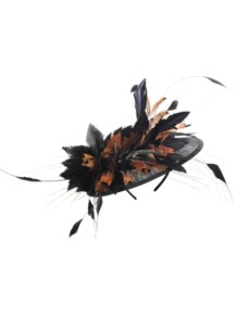 Bibi Feathers - predominant colour: black; occasions: evening, occasion; type of pattern: light; style: fascinator; size: standard; material: sinamay; embellishment: feather; pattern: two-tone