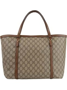 Nice Gg Plus Tote - predominant colour: taupe; occasions: casual, work; type of pattern: light; style: tote; length: handle; size: standard; material: fabric; pattern: monogram; finish: plain