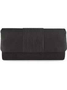 Foldover Flap Centre Pleated Clutch Bag - predominant colour: black; occasions: evening, occasion; type of pattern: small; style: clutch; length: hand carry; size: small; material: fabric; embellishment: pleated; pattern: plain; finish: plain