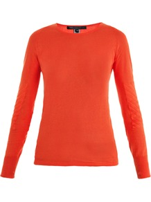 Gayle Quilted Elbow Sweater - pattern: plain; style: standard; predominant colour: bright orange; occasions: casual, work; length: standard; fibres: cotton - 100%; fit: slim fit; neckline: crew; sleeve length: long sleeve; sleeve style: standard; texture group: knits/crochet