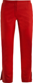 Ankle Split Leather Trousers - pattern: plain; waist: mid/regular rise; predominant colour: true red; occasions: casual, evening, work, holiday; length: calf length; fibres: leather - 100%; texture group: leather; fit: slim leg; pattern type: fabric; style: standard
