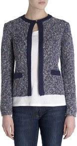 Tweed Knit Jacket - pattern: plain; style: single breasted blazer; collar: round collar/collarless; fit: slim fit; predominant colour: navy; occasions: casual, evening, work; length: standard; fibres: cotton - mix; sleeve length: long sleeve; sleeve style: standard; collar break: high; pattern type: fabric; texture group: tweed - light/midweight