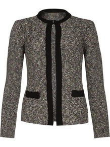 Tweed Knit Jacket - pattern: plain; style: single breasted blazer; collar: round collar/collarless; predominant colour: charcoal; secondary colour: black; occasions: casual, evening, work, occasion; length: standard; fit: tailored/fitted; fibres: cotton - mix; sleeve length: long sleeve; sleeve style: standard; collar break: high; pattern type: fabric; texture group: tweed - light/midweight