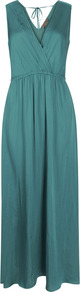 Drape Maxi Dress - neckline: low v-neck; fit: fitted at waist; pattern: plain; sleeve style: sleeveless; style: maxi dress; waist detail: elasticated waist; back detail: tie detail at back; predominant colour: dark green; occasions: casual, occasion, holiday; length: floor length; fibres: polyester/polyamide - 100%; sleeve length: sleeveless; texture group: silky - light; pattern type: fabric
