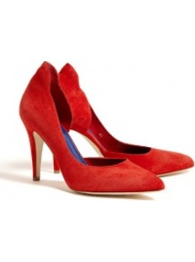 Red Atenera Suede Court Shoes - predominant colour: true red; occasions: evening, work, occasion; material: suede; heel height: high; heel: stiletto; toe: pointed toe; style: courts; finish: plain; pattern: plain
