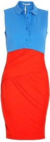 Red Top Two Tone Bandage Shirt Dress - style: shift; neckline: shirt collar/peter pan/zip with opening; sleeve style: sleeveless; waist detail: fitted waist; predominant colour: true red; occasions: casual, evening; length: just above the knee; fit: body skimming; sleeve length: sleeveless; pattern: colourblock; texture group: jersey - stretchy/drapey; fibres: viscose/rayon - mix