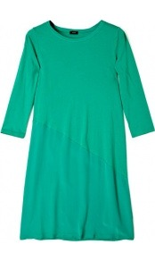 Olivia Silk Cotton Blend 3/4 Sleeve Dress - style: a-line; neckline: round neck; pattern: plain; predominant colour: emerald green; occasions: casual, holiday; length: just above the knee; fit: body skimming; fibres: cotton - mix; sleeve length: 3/4 length; sleeve style: standard; pattern type: fabric; pattern size: standard; texture group: jersey - stretchy/drapey