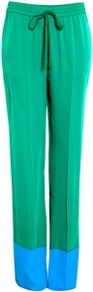 Jammy Silk 2 Tone Wide Leg Trousers - length: standard; style: tracksuit pants; waist detail: elasticated waist; waist: mid/regular rise; predominant colour: emerald green; occasions: casual, evening, holiday; fibres: silk - 100%; trends: sporty redux; fit: wide leg; pattern type: fabric; pattern size: small & light; pattern: colourblock; texture group: sheepskin