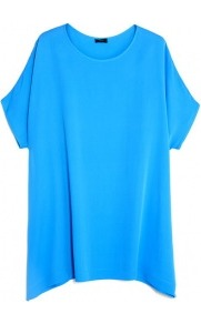 Light Silk Gerbette Tunic Top - neckline: round neck; pattern: plain; length: below the bottom; style: tunic; predominant colour: turquoise; occasions: casual, evening, occasion; fibres: silk - 100%; fit: loose; sleeve length: short sleeve; sleeve style: standard; texture group: crepes; pattern type: fabric