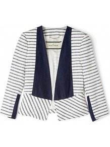 Etioloa Stripe Cotton Jacket - style: single breasted blazer; pattern: striped; collar: shawl/waterfall; predominant colour: navy; occasions: casual, work; length: standard; fit: straight cut (boxy); fibres: acrylic - 100%; sleeve length: 3/4 length; sleeve style: standard; collar break: low/open; pattern type: fabric; pattern size: standard; texture group: woven light midweight