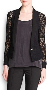 Lace Blazer - pattern: plain; style: single breasted blazer; collar: shawl/waterfall; shoulder detail: contrast pattern/fabric at shoulder; predominant colour: black; occasions: evening, work, occasion; length: standard; fit: tailored/fitted; fibres: polyester/polyamide - 100%; waist detail: fitted waist; sleeve length: long sleeve; sleeve style: standard; texture group: lace; trends: tuxedo; collar break: low/open; pattern type: fabric
