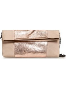 Touch Metallic Band Leather Clutch - predominant colour: blush; secondary colour: champagne; occasions: evening, occasion; type of pattern: standard; style: clutch; length: hand carry; size: small; material: leather; pattern: plain; trends: metallics; finish: metallic