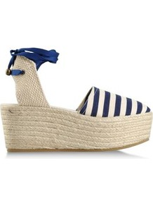 Espadrilles Espadrilles On Shoescribe.Com - predominant colour: navy; occasions: casual, holiday; material: fabric; heel height: mid; embellishment: ribbon; ankle detail: ankle tie; heel: wedge; toe: round toe; style: mules; trends: striking stripes; finish: plain; pattern: striped