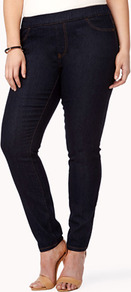 Elasticized Skinny Jeans - style: skinny leg; length: standard; pattern: plain; pocket detail: traditional 5 pocket; waist: mid/regular rise; predominant colour: navy; occasions: casual, evening; fibres: cotton - mix; texture group: denim; pattern type: fabric; pattern size: standard
