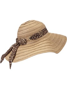 Floppy Straw Hat - predominant colour: camel; type of pattern: light; style: wide brimmed; size: large; material: macrame/raffia/straw; embellishment: ribbon; pattern: plain; occasions: holiday