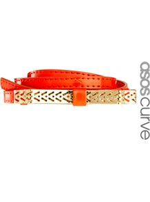 Curve Metal Cut Work Bow Waist Belt - predominant colour: bright orange; occasions: casual, evening, work, holiday; type of pattern: light; style: classic; size: skinny; worn on: waist; material: faux leather; pattern: plain; trends: fluorescent; finish: plain; embellishment: chain/metal