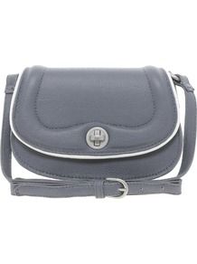 Pepper Pleather Small Crossbody Bag - predominant colour: mid grey; occasions: casual; type of pattern: standard; style: messenger; length: across body/long; size: small; material: faux leather; pattern: plain; finish: plain