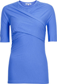 Blue Wrap Front Jersey Top Size - pattern: plain; waist detail: fitted waist; bust detail: ruching/gathering/draping/layers/pintuck pleats at bust; predominant colour: indigo; occasions: casual, evening, work; length: standard; style: top; fibres: cotton - mix; fit: tight; neckline: crew; sleeve length: half sleeve; sleeve style: standard; pattern type: fabric; pattern size: standard; texture group: jersey - stretchy/drapey