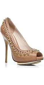 Moda In Pelle Jumanji Ladies Shoes - predominant colour: camel; occasions: evening, occasion; material: faux leather; heel height: high; embellishment: studs; heel: platform; toe: open toe/peeptoe; style: courts; finish: plain; pattern: plain