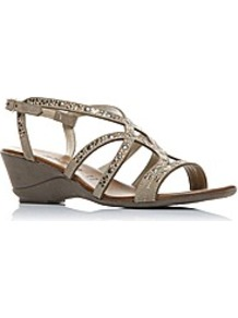 Moda In Pelle Pollick Ladies Sandals - predominant colour: taupe; occasions: evening, holiday; material: leather; heel height: mid; embellishment: studs; heel: wedge; toe: open toe/peeptoe; style: strappy; finish: metallic; pattern: plain