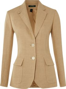 Women's Long Sleeved Hacking Jacket, Tan - pattern: plain; style: single breasted blazer; collar: standard lapel/rever collar; predominant colour: tan; occasions: casual, evening, work; length: standard; fit: tailored/fitted; fibres: linen - 100%; waist detail: fitted waist; sleeve length: long sleeve; sleeve style: standard; texture group: linen; collar break: medium; pattern type: fabric; pattern size: standard