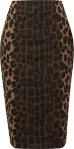 Women's Adeline Skirt, Black - style: pencil; fit: tailored/fitted; waist: high rise; predominant colour: chocolate brown; secondary colour: black; occasions: evening; length: on the knee; fibres: cotton - stretch; pattern type: fabric; pattern size: big & busy; pattern: animal print; texture group: other - light to midweight