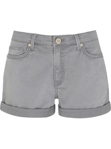Women's Khaki Denim Shorts, Green - pattern: plain; style: shorts; pocket detail: traditional 5 pocket; length: short shorts; waist: mid/regular rise; predominant colour: light grey; occasions: casual, holiday; fibres: cotton - stretch; jeans & bottoms detail: turn ups; texture group: denim; fit: slim leg; pattern type: fabric; pattern size: standard