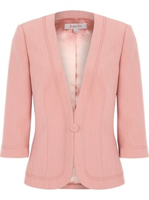 Women&#x27;s Coral Braid Detail Jacket, Orange - pattern: plain; style: single breasted blazer; collar: shawl/waterfall; predominant colour: coral; occasions: work, occasion; length: standard; fit: tailored/fitted; fibres: polyester/polyamide - 100%; waist detail: fitted waist; sleeve length: 3/4 length; sleeve style: standard; collar break: medium; pattern type: fabric; pattern size: standard; texture group: woven bulky/heavy