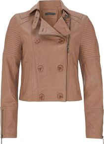 Women&#x27;s Cropped Leather Jacket, Pastel Pink - pattern: plain; style: biker; collar: asymmetric biker; predominant colour: tan; occasions: casual, work; length: standard; fit: straight cut (boxy); fibres: leather - 100%; sleeve length: long sleeve; sleeve style: standard; texture group: leather; collar break: high/illusion of break when open; pattern type: fabric