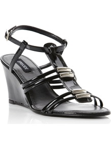 Gallant Metal Trim Detail Wedge Shoes, Black Patent - predominant colour: black; occasions: casual, evening, holiday; material: leather; heel height: high; ankle detail: ankle strap; heel: wedge; toe: open toe/peeptoe; style: strappy; finish: patent; pattern: plain; embellishment: chain/metal