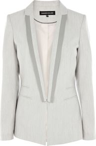 Women's Contrast Trim Jacket, Light Grey - pattern: plain; style: single breasted blazer; collar: standard lapel/rever collar; secondary colour: mid grey; predominant colour: light grey; occasions: evening, work, occasion; length: standard; fit: tailored/fitted; fibres: cotton - 100%; sleeve length: long sleeve; sleeve style: standard; collar break: low/open; pattern type: fabric; texture group: woven light midweight