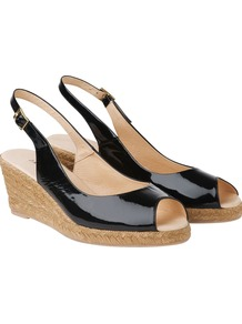 Slingback Espadrille, Black - predominant colour: black; occasions: casual, evening, work, holiday; material: leather; heel height: mid; ankle detail: ankle strap; heel: wedge; toe: open toe/peeptoe; style: slingbacks; finish: patent; pattern: plain